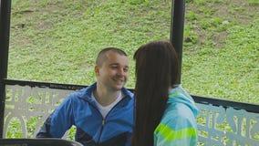 Una pareja casada camina en un parque con un cochecito y habla almacen de metraje de vídeo