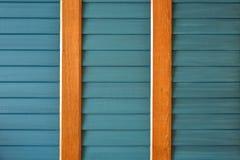 Una parete di legno della plancia di verde blu Immagini Stock