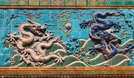 Una parete di nove draghi Fotografia Stock