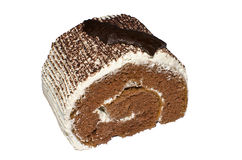 Una parte del rullo della torta di cioccolato Immagine Stock