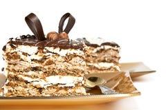 Una parte della torta di cioccolato. immagine stock
