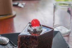 Una parte della torta di cioccolato Fotografia Stock