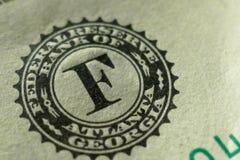 Una parte di un dollaro Bill Macro Fotografie Stock Libere da Diritti