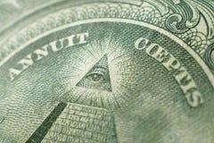 Una parte di un dollaro Bill Macro Fotografia Stock