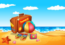Una partida del verano en la playa Imágenes de archivo libres de regalías