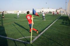 Una partita di calcio Immagine Stock
