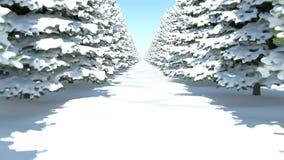 Una passeggiata attraverso la foresta dell'abete di inverno in neve HD pieno 3D-rendering royalty illustrazione gratis