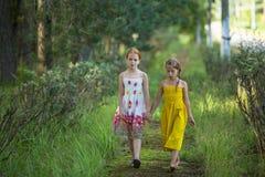 Una passeggiata di due bambine attraverso il parco Immagine Stock