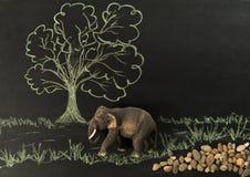 Una passeggiata di legno dell'elefante lungo la foresta fotografia stock