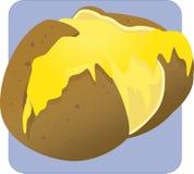 Una patata al forno con formaggio di fusione Immagine Stock