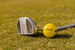 Una pelota de golf y un palillo Fotos de archivo