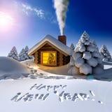Una pequeña casa de madera en un bosque fantástico de la nieve foto de archivo libre de regalías
