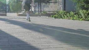 Una pequeña colegiala divertida en uniforme escolar y una cartera en sus hombros corre a la escuela almacen de video
