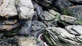 Una pequeña corriente de la montaña en el medio de una roca de la montaña almacen de metraje de vídeo
