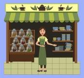 Una pequeña tienda que vende té y el vajilla para el té con una dependienta linda libre illustration