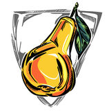 Una pera matura stilizzata illustrazione di stock
