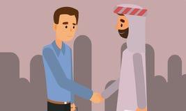 Una persona árabe que sacude las manos con un hombre de negocios libre illustration