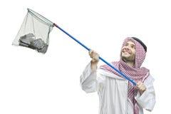 Una persona araba con una rete da pesca Fotografia Stock Libera da Diritti