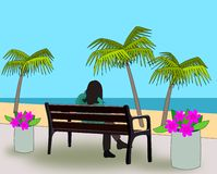 Bench alla spiaggia. Royalty Illustrazione gratis