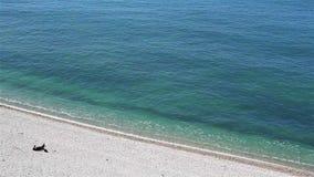 Una persona che si trova su una spiaggia dell'assicella e che prende il sole vicino all'oceano archivi video