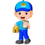 una persona di consegna che consegna un pacchetto illustrazione vettoriale