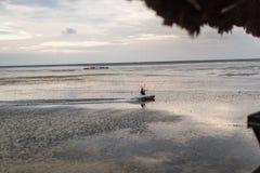 Una persona que practica surf de la cometa que navega lejos en la playa imagen de archivo libre de regalías