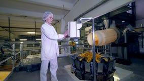 Una persona trabaja con la máquina de la fábrica mientras que las patatas fritas se mueven en un transportador metrajes