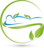 Una persona y un logotipo de las manos, ortopédico y del masaje stock de ilustración