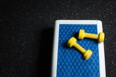 Una piattaforma blu con due teste di legno gialle, attrezzatura di punto per gli esercizi efficaci su un buio ha offuscato il fon Fotografia Stock Libera da Diritti