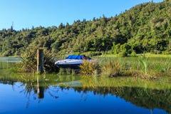 Una piccola barca accoccolata in piante acquatiche, lago Rotoehu, Nuova Zelanda immagini stock