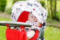 Una piccola bella neonata sveglia di 6 mesi che si siedono nella mamma della carrozzina o del passeggiatore ed aspettare fotografia stock libera da diritti