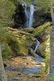 Una piccola cascata nelle montagne fumose è viva con colore Immagini Stock