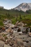 Una piccola insenatura che precipita a cascata sopra le rocce davanti alla neve ha ricoperto il monte Rainier fotografie stock