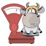 Una piccola mucca e una bilancia fumetto Fotografie Stock Libere da Diritti