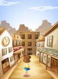Una piccola ragazza vicino alle barre di salone Immagini Stock