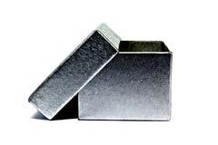 Una piccola scatola grigia isolata Immagini Stock Libere da Diritti