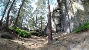 Una piedra arenisca grande oscila en bosque contra un cielo con el sol shinning metrajes