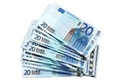 Una pila de 20 notas euro. Fotos de archivo libres de regalías