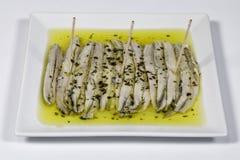 Una pila de anchoas en vinagre Fotografía de archivo