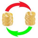 Una pila de bitcoins y una pila de monedas del dólar son flechas intercambiadas ilustración del vector