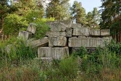 Una pila de bloques de cemento viejos en naturaleza en el bosque imagenes de archivo