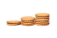 Una pila de crema del bocadillo del soplo de las galletas del cicle aislada en blanco fotografía de archivo libre de regalías