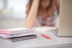 Una pila de cuadernos espirales y de estudiante en el ordenador portátil foto de archivo