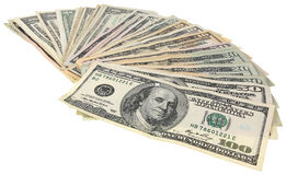 Una pila de dólares de los billetes de banco Fotografía de archivo