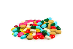 Una pila de diversas píldoras Imagen de archivo libre de regalías