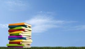 Una pila de libros sobre hierba Imágenes de archivo libres de regalías
