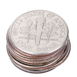 Pila aislada de la moneda de diez centavos de los E.E.U.U. Fotos de archivo