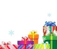 Una pila de rectángulos de regalo de la Navidad Imagen de archivo