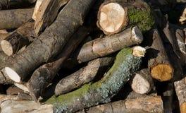 Una pila de registros listos para la madera del fuego Imagen de archivo