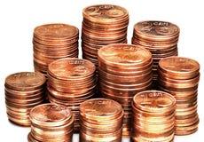 Una pila del centavo euro acuña en blanco Imagenes de archivo